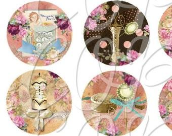 SEWING - 1 inch circles  -  Printable Digital Collage Sheet - Digital Download