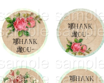 2 Sheets Words to Live By and Thank You - 2 inch Circles  Printable Digital Collage Sheet - Digital Download