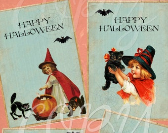 Instant Download  - Happy Halloween Tags -  Digital Download - Printable  Digital Collage Sheet