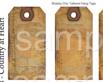 Instant Download  - Shabby Chic Tattered Hang Tags-   Digital Download - Printable  Digital Collage Sheet