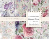 Vintage Floral - Printable Paper - 6 Full Size Sheets of Printable Papers - Digital Download - Journal Paper
