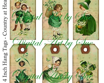 Instant Download  - St Patrick's Day  Digital Hang Tags- High quality - Printable Download - Hang Tags -