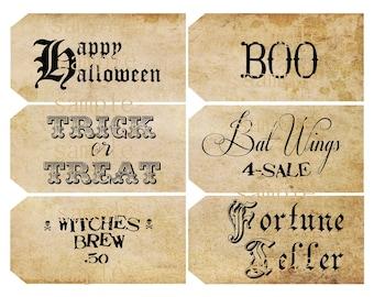 Instant Download Halloween Sayings -  Hang Tags-  Printable Digital Collage Sheet - Digital Download