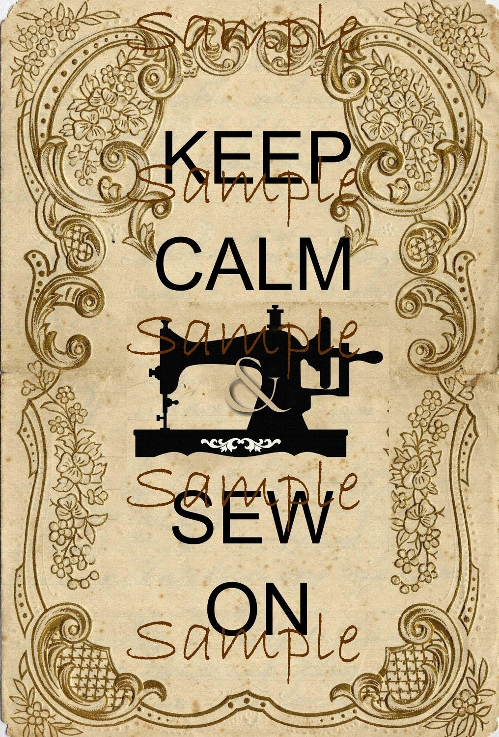 Instant Download Keep Calm and Sew On... Large Image   Etsy