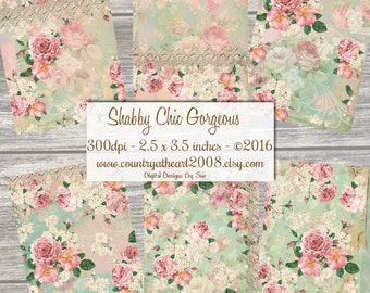 Instant Download  - Shabby Chic  Gorgeous  - ACEO - Digital Download - Printable  Digital Collage Sheet