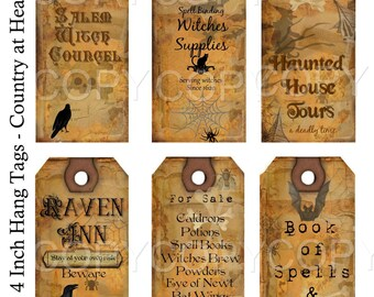 Instant Download Halloween 2 -  Hang Tags-  Printable Digital Collage Sheet - Digital Download
