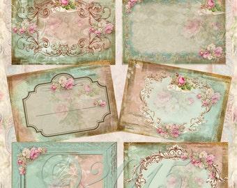 Instant Download  - Shabby Rose - ACEO - Digital Download - Printable  Digital Collage Sheet