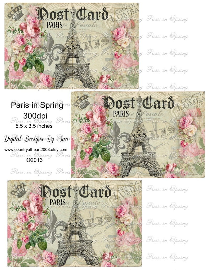 Eiffel Tower Instant Download  Paris in Spring   Printable image 0