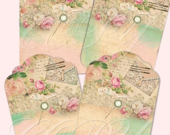 INSTANT DOWNLOAD - Shabby French - Hang Tags -   Digital Download - Printable  Digital Collage Sheet