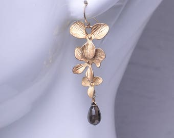 SALE 20 OFF! Long Gold Flower and Smoky Quartz Earrings