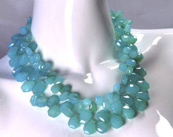 Turquoise Aqua Chalcedony Statement Necklace