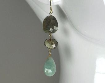 Labradorite Smoky Quartz and Aquamarine Gemstone Earrings