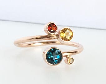 Two Three or Four Birthstone Ring in 14k Rose Gold, Personalized Jewelry, Unique Birthstone Ring,  for her, Gift for Mom