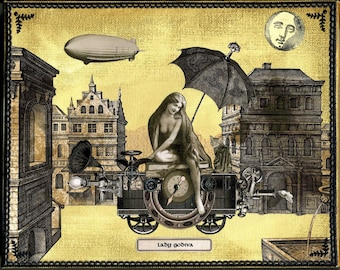 Steampunk Lady Godiva - Original Collage