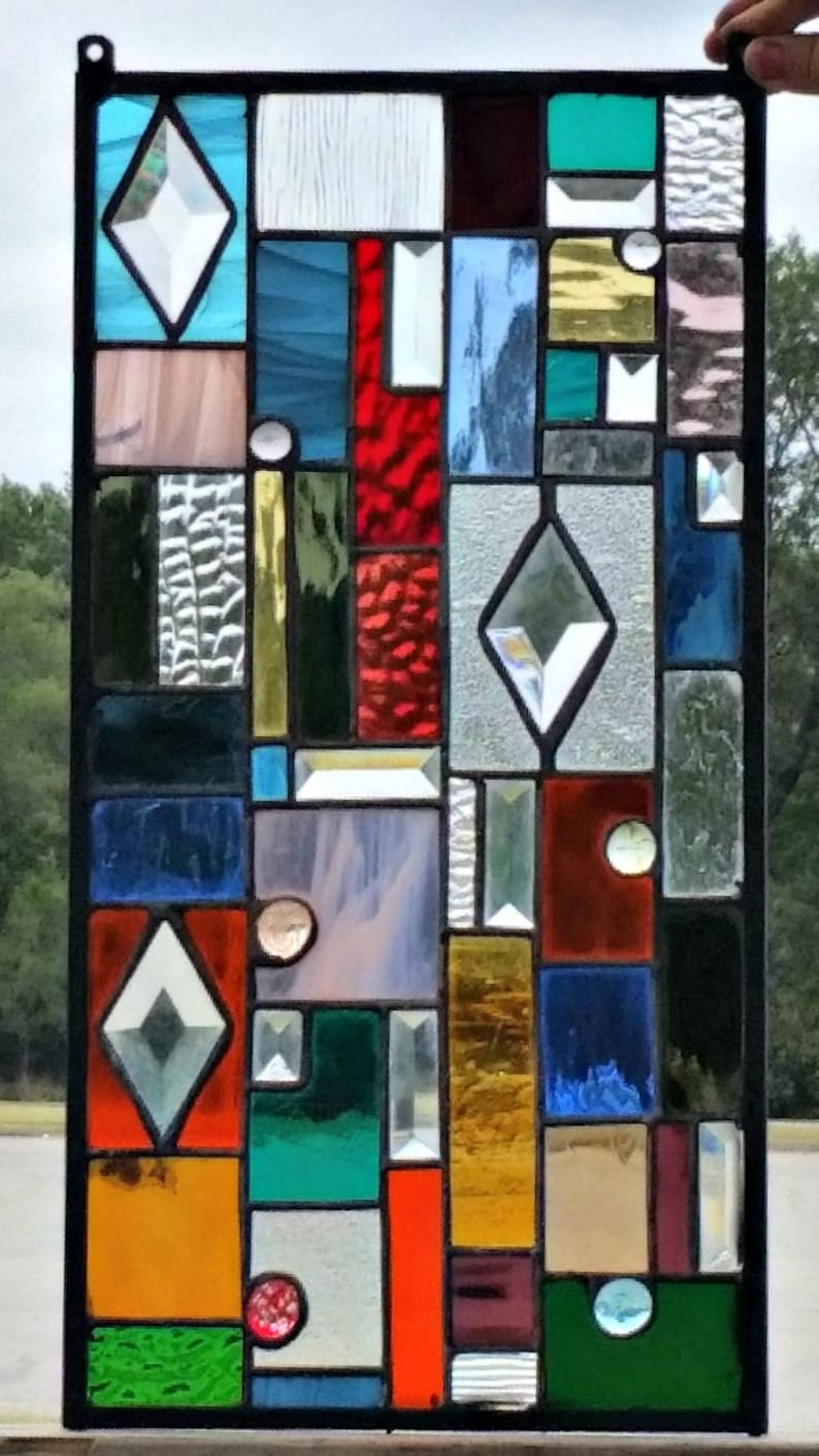 6 Stained Glass Panel Colorful Textures and Bevels CG