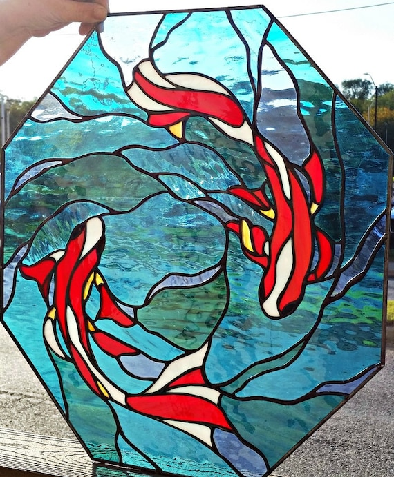 W 194 Swimming Koi Stained Glass Window, Stained Glass Pictures