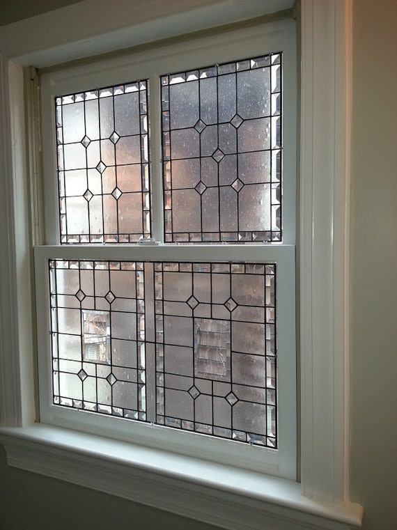 Stained Glass 3 Piece Window Elegant Privacy Etsy