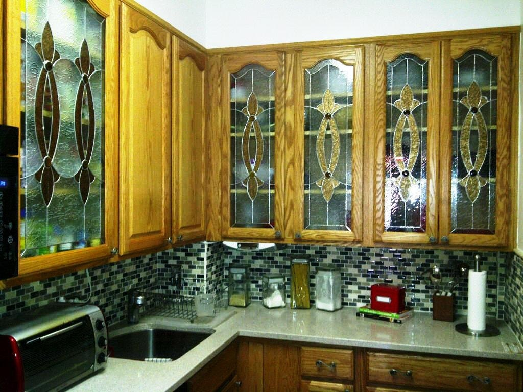 Elegant Stained Glass Custom Kitchen Cabinet Inserts CI-2 ...
