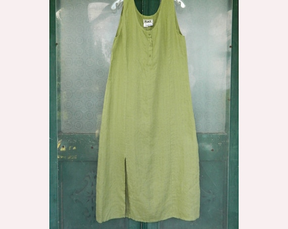 FLAX Designs Sleeveless Long Dress -M- Palm Green Linen