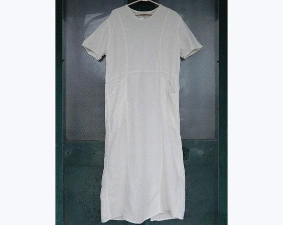 FLAX Engelheart Right Angle Dress from Flax de Soleil 2000 in Cream Windowpanes Linen