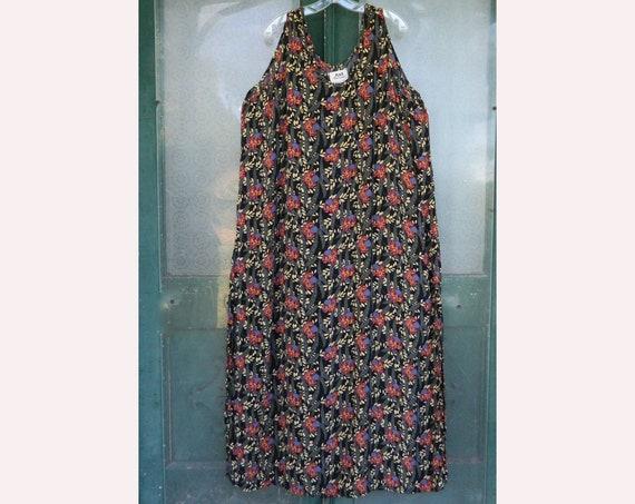 FLAX Engelhart Thinking Tropics 1999 Slipster Dress -3G/3X- Black Beans Rayon