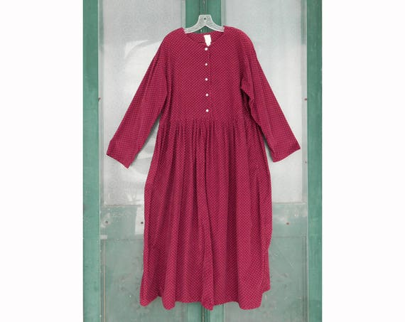 Vintage Long Comfortable Corduroy Dress -XL- Wine Dot Cotton Cord
