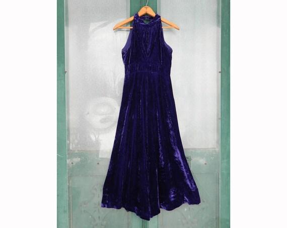 Vintage Halter Dress -S- Purple Velvet