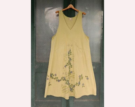 Blue Fish Art Wear V-Neck Jumper Dress -1- Light Green Cotton