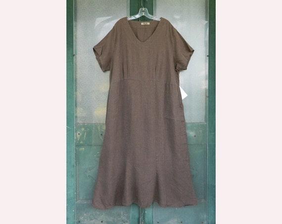 FLAX Engelheart Short Sleeve V-Neck Dress -2G/2X- Gray/Brown Linen NWT