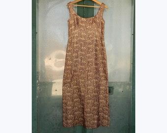 Vintage 1970s Sleeveless Evening Dress -S/M- Gold/Maroon Metallic Weave