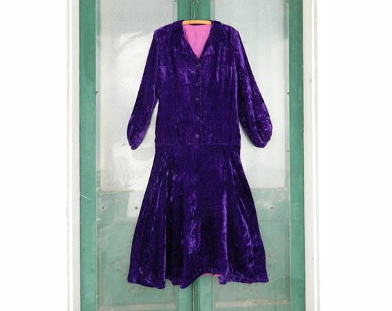 Vintage Long-Sleeve Dress -M- Purple Velvet
