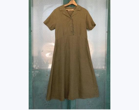 FLAX Engelheart Short-Sleeve Retro Dress -S- Olive Green Linen