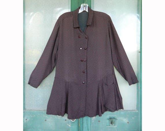Vintage Angelheart Designs Jeanne Engelhart Reversible Retro Jacket -S- Maroon/Gray Grapevine