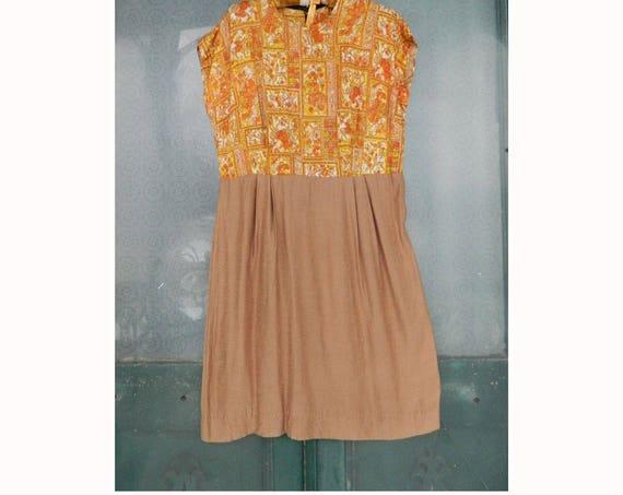 Vintage 1960s Sleeveless Print over Solid Dress M/L Orange/Gold