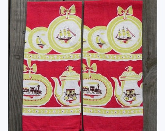 Pair of Pristine Vintage Linen Transportation Theme TeaTowels