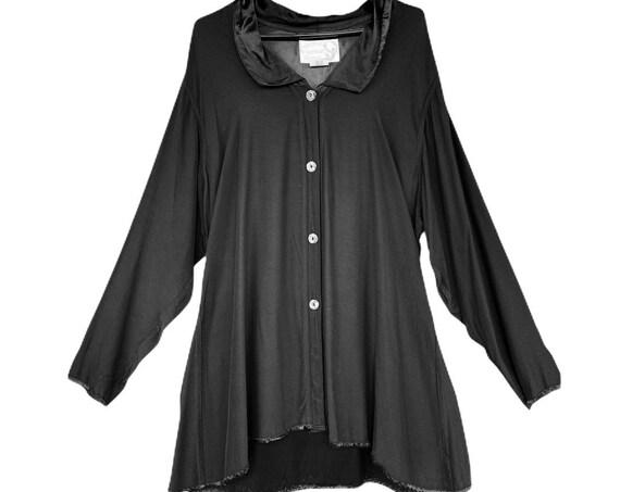 Angelheart Designs Engelhart Secret Holiday Angel 1995 Unprecedented Shirt -S- Black Satin-Backed Crepe