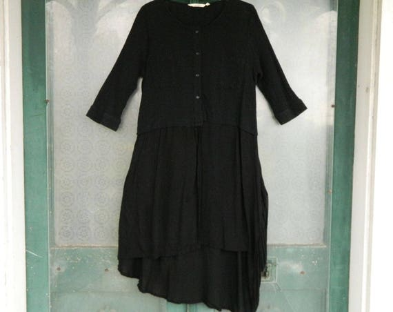 Esback Witchy 3/4 Sleeve Black Dress -M- Rayon Gauze and Knit