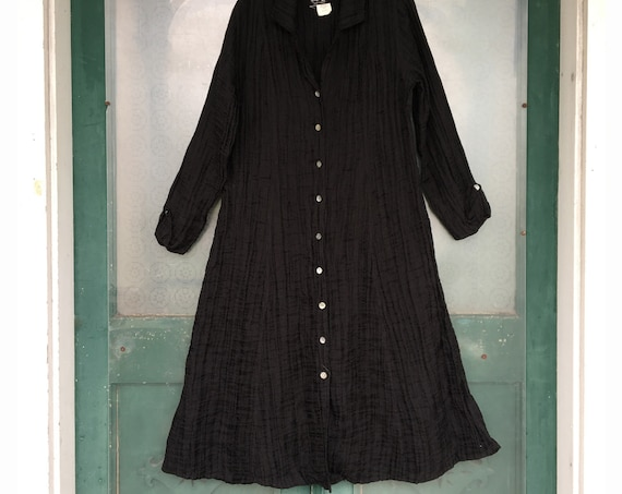 Angelheart Designs Engelhart 1999 Dress Coat -S- Black Sculpted Linen/Cotton/Poly