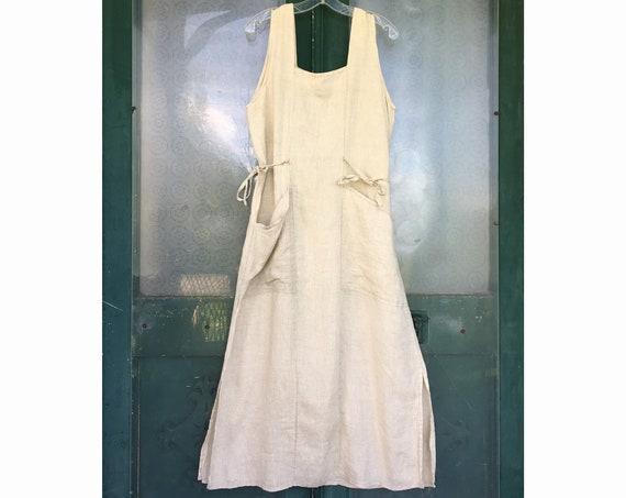 FLAX Engelheart Summer 1996 Sleeveless Sundress -M- Natural Handkerchief Linen