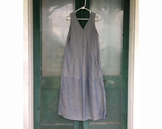 FLAX Engelheart Basic 2000 Long Chic Shift -S/M- Blue Corn Linen