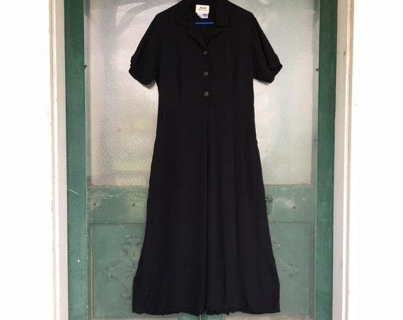 FLAX Engelhart Thinking Tropics Short-Sleeve Retro Dress -S- Black Rayon