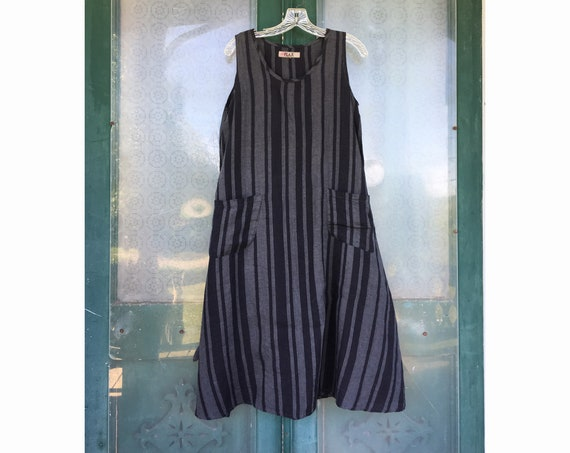FLAX Engelheart Sleeveless Summer Dress -P/XS- Black/Gray Stripe Linen