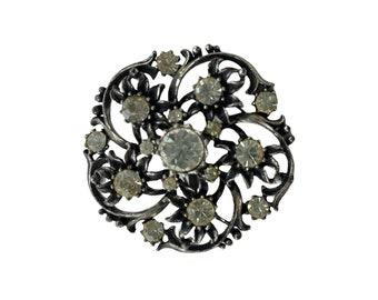 Coro Antique-Style Round Rhinestone Brooch