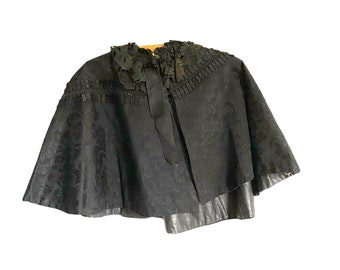 Vintage Black Damask Capelet with Ruffle and Lace Trim