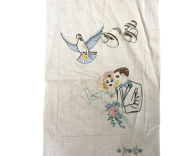 Vintage Unfinished Embroidery Bride and Groom