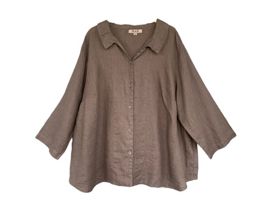 FLAX 3/4 Sleeve Shirt Jacket -2G/2X- Brown/Gray Linen