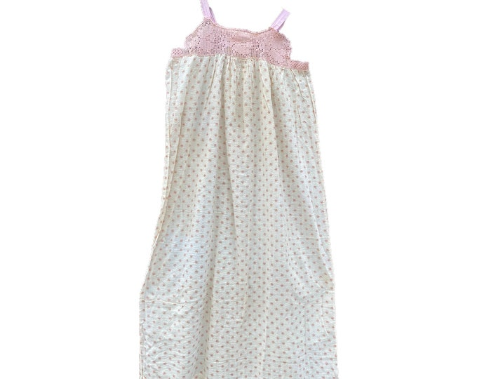 Vintage Long Cotton Floral Seersucker Nightgown with Crocheted Yoke