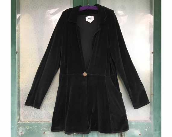 FLAX Engelhart Fall 1998 My Hero's Coat Retro Edwardian Jacket -M/L- Black Cotton/Lycra Velour