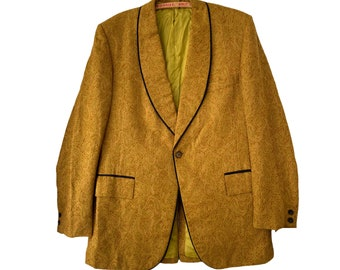 Wright & Simon Wilmington Vintage Gold Paisley Smoking Jacket