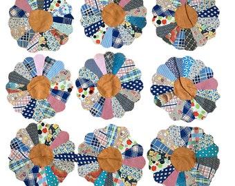 Set of 9 Vintage Dresden Plate Quilt Blocks